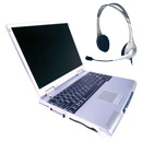Laptop with headphone and microphone
